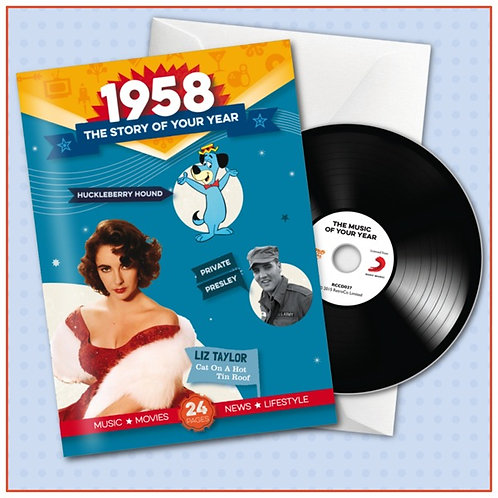 1958 Booklet Greeting Card with Hit Songs, Download Code and retro CD