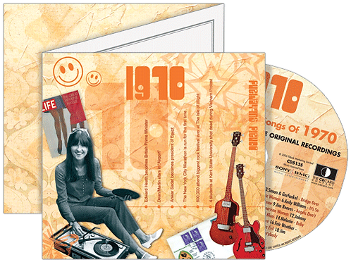 1970 Classic Years Greeting Card with Hit Songs, Download Code and retro CD