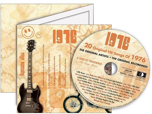 1976 Classic Years Greeting Card with Hit Songs, Download Code and retro CD