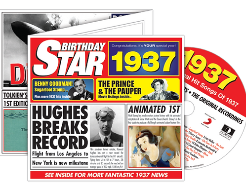 1937 Birthday Star Greeting Card with Hit Songs, Download Code and retro CD