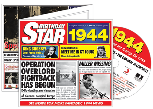 1944 Birthday Star Greeting Card with Hit Songs, Download Code and retro CD
