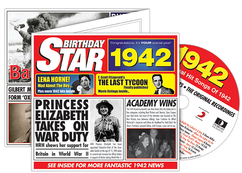 1942 Birthday Star Greeting Card with Hit Songs, Download Code and retro CD