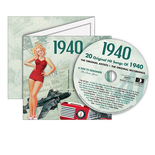 1940 Classic Years - Year Of Birth Music Downloads Greeting Card + Retro CD