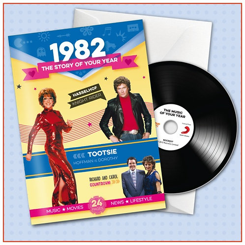 1982 Booklet Greeting Card with Hit Songs, Download Code and retro CD