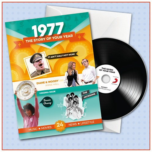 1977 Booklet Greeting Card with Hit Songs, Download Code and retro CD