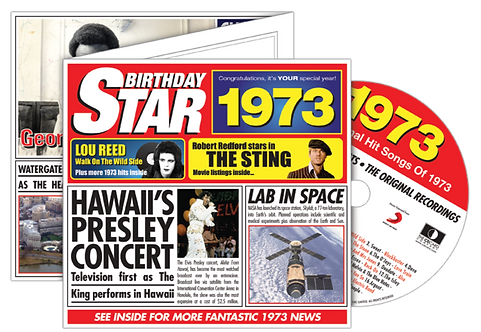 1973 Birthday Star Greeting Card with Hit Songs, Download Code and retro CD