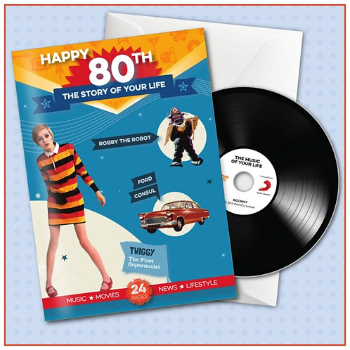 Happy 80th Booklet Card with Hit Songs,  Download Code and retro CD
