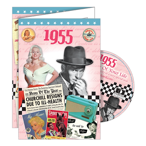 1955 Year Of Birth Greeting Card with DVD