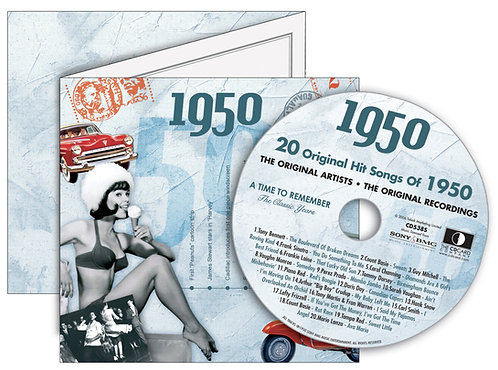 1950 Classic Years Greeting Card with Hit Songs, Download Code and retro CD
