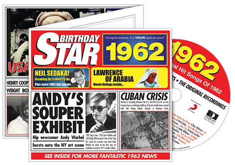 1962 Birthday Star Greeting Card with Hit Songs, Download Code and retro CD