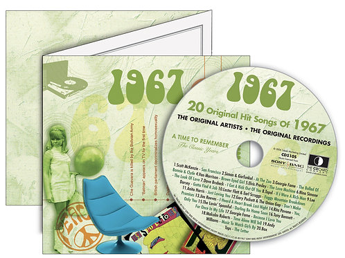 1967 Classic Years Greeting Card with Hit Songs, Download Code and retro CD
