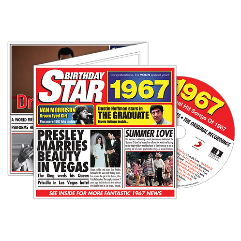 1967 Birthday Star - Year Of Birth Music Downloads Greeting Card + Retro CD