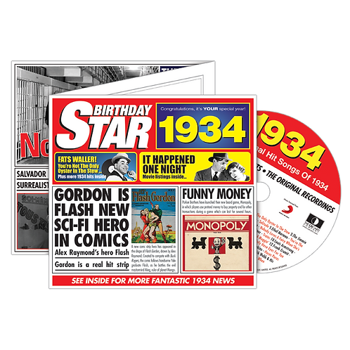 1934 Birthday Star - Year Of Birth Music Downloads Greeting Card + Retro CD
