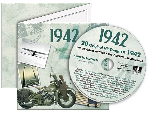 1942 Classic Years Greeting Card with Hit Songs, Download Code and retro CD