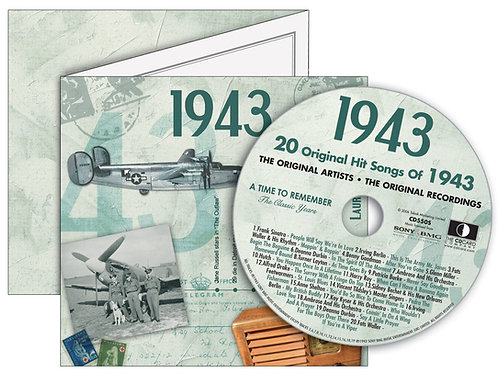 1943 Classic Years Greeting Card with Hit Songs, Download Code and retro CD