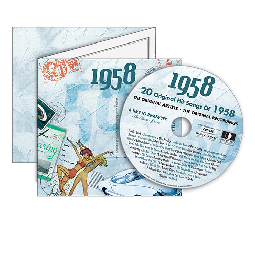 1958 Classic Years - Year Of Birth Music Downloads Greeting Card + Retro CD