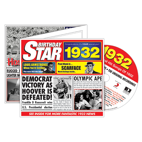 1932 Birthday Star - Year Of Birth Music Downloads Greeting Card + Retro CD