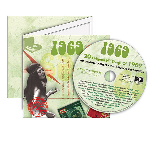 1969 Classic Years - Year Of Birth Music Downloads Greeting Card + Retro CD