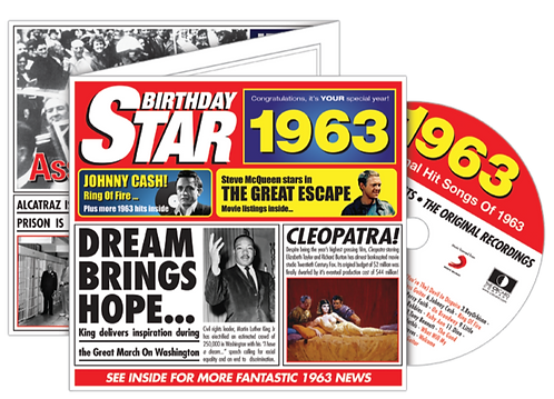 1963 Birthday Star Greeting Card with Hit Songs, Download Code and retro CD