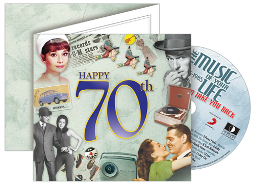 70th Birthday Greeting Card with Hit Songs, Download Code and retro CD