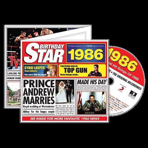 1986 Birthday Star - Year Of Birth Music Downloads Greeting Card + Retro CD