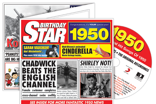 1950 Birthday Star Greeting Card with Hit Songs, Download Code and retro CD