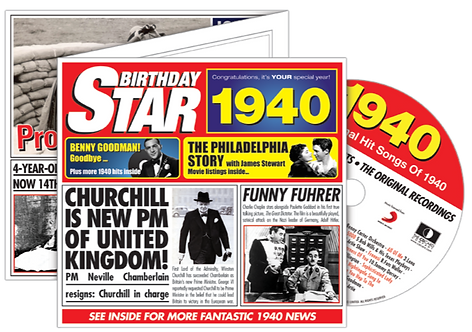 1940 Birthday Star Greeting Card with Hit Songs, Download Code and retro CD