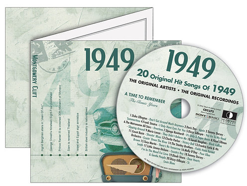 1949 Classic Years Greeting Card with Hit Songs, Download Code and retro CD
