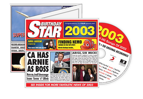2003 Birthday Star Greeting Card with Hit Songs, Download Code and retro CD