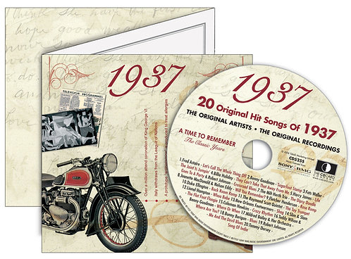 1937 Classic Years Greeting Card with Hit Songs, Download Code and retro CD