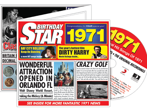 1971 Birthday Star Greeting Card with Hit Songs, Download Code and retro CD