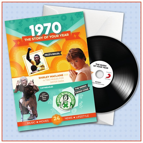1970 Booklet Greeting Card with Hit Songs, Download Code and retro CD