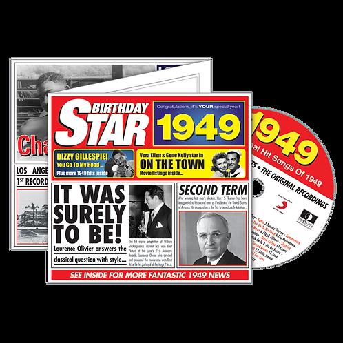 1949 Birthday Star - Year Of Birth Music Downloads Greeting Card + Retro CD
