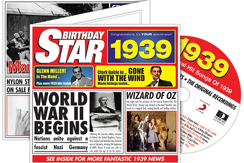 1939 Birthday Star Greeting Card with Hit Songs, Download Code and retro CD