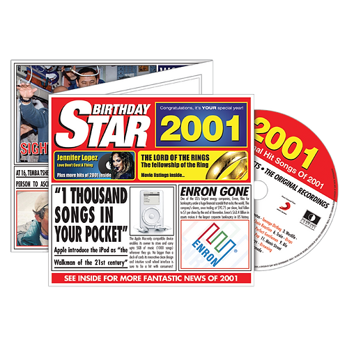 2001 Birthday Star Greeting Card with Hit Songs, Download Code and retro CD