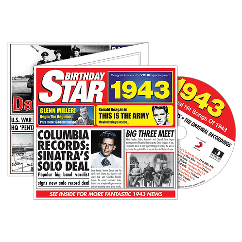 1943 Birthday Star  - Year Of Birth Music Downloads Greeting Card + Retro CD