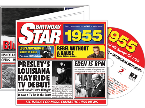 1955 Birthday Star Greeting Card with Hit Songs, Download Code and retro CD