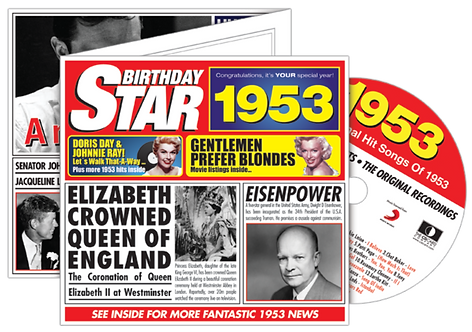 1953 Birthday Star Greeting Card with Hit Songs, Download Code and retro CD