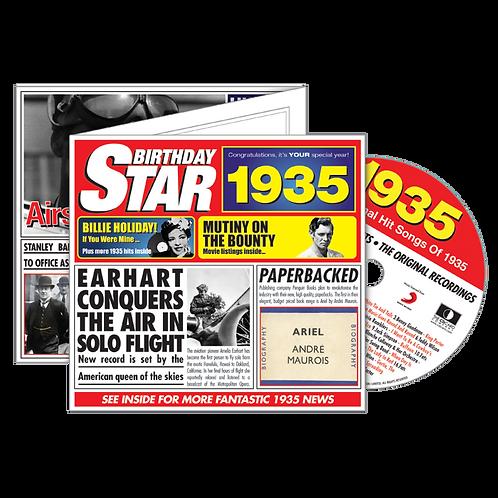 1935 Birthday Star - Year Of Birth Music Downloads Greeting Card + Retro CD