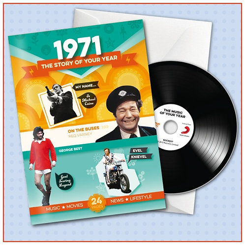 1971 Booklet Greeting Card with Hit Songs, Download Code and retro CD