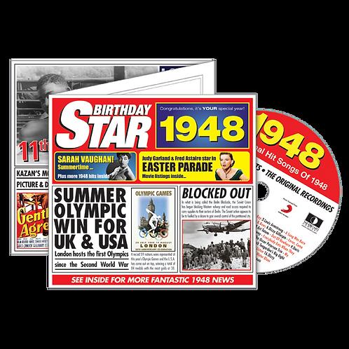 1948 Birthday Star - Year Of Birth Music Downloads Greeting Card + Retro CD