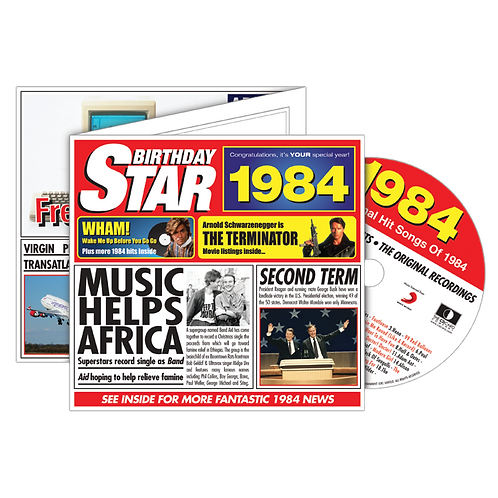 1984 Birthday Star - Year Of Birth Music Downloads Greeting Card + Retro CD