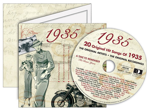 1935 Classic Years Greeting Card with Hit Songs, Download Code and retro CD