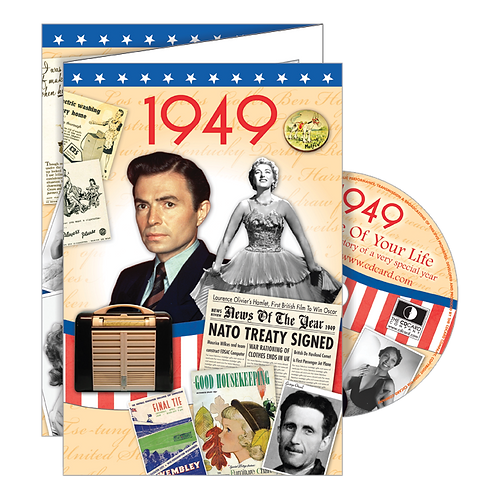 1949 Year Of Birth Greeting Card with DVD