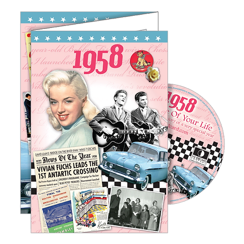 1958 Year Of Birth Greeting Card with DVD