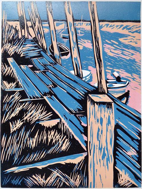 Walk the Plank. Original reduction lino print. Edition 7/14