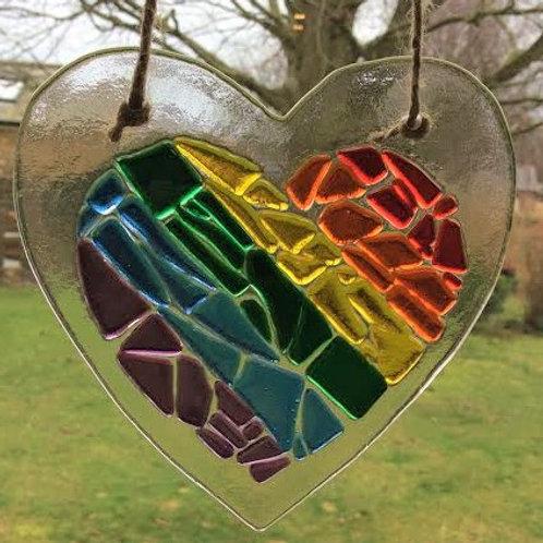 Pretty Multicoloured Glass Heart in a Heart 12.5 x 13 cm