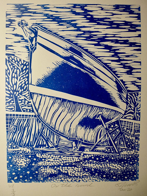 On the Hard. Original Lino print Edition 2/5