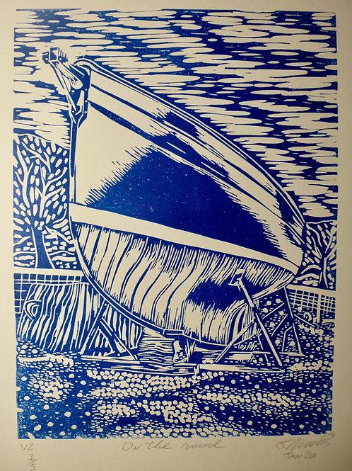 On the Hard. Original Lino print Edition 2/5