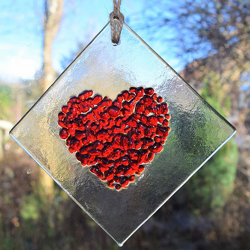 Red Fused Glass Heart 10 x 10 cm